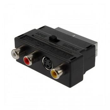 RGB Scart to 3 RCA S-Video Audio AV TV Adapter